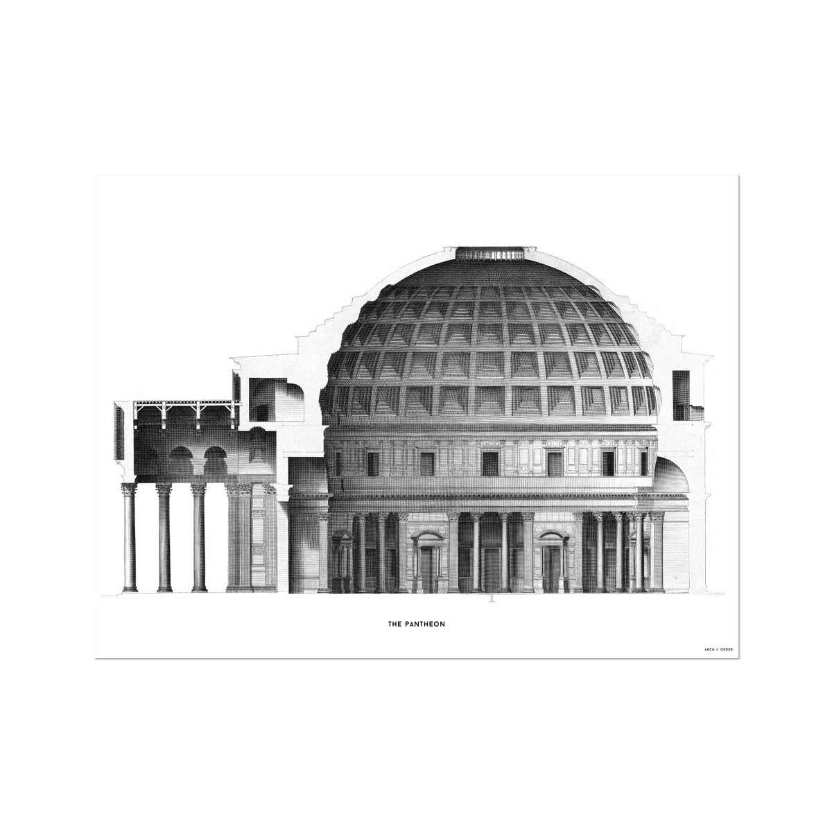 The Pantheon - Alternative Cross Section -  Etching Paper Print