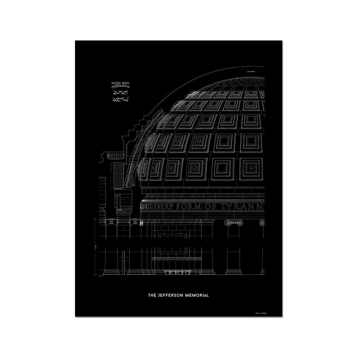 The Jefferson Memorial Section Detail - Black -  Etching Paper Print