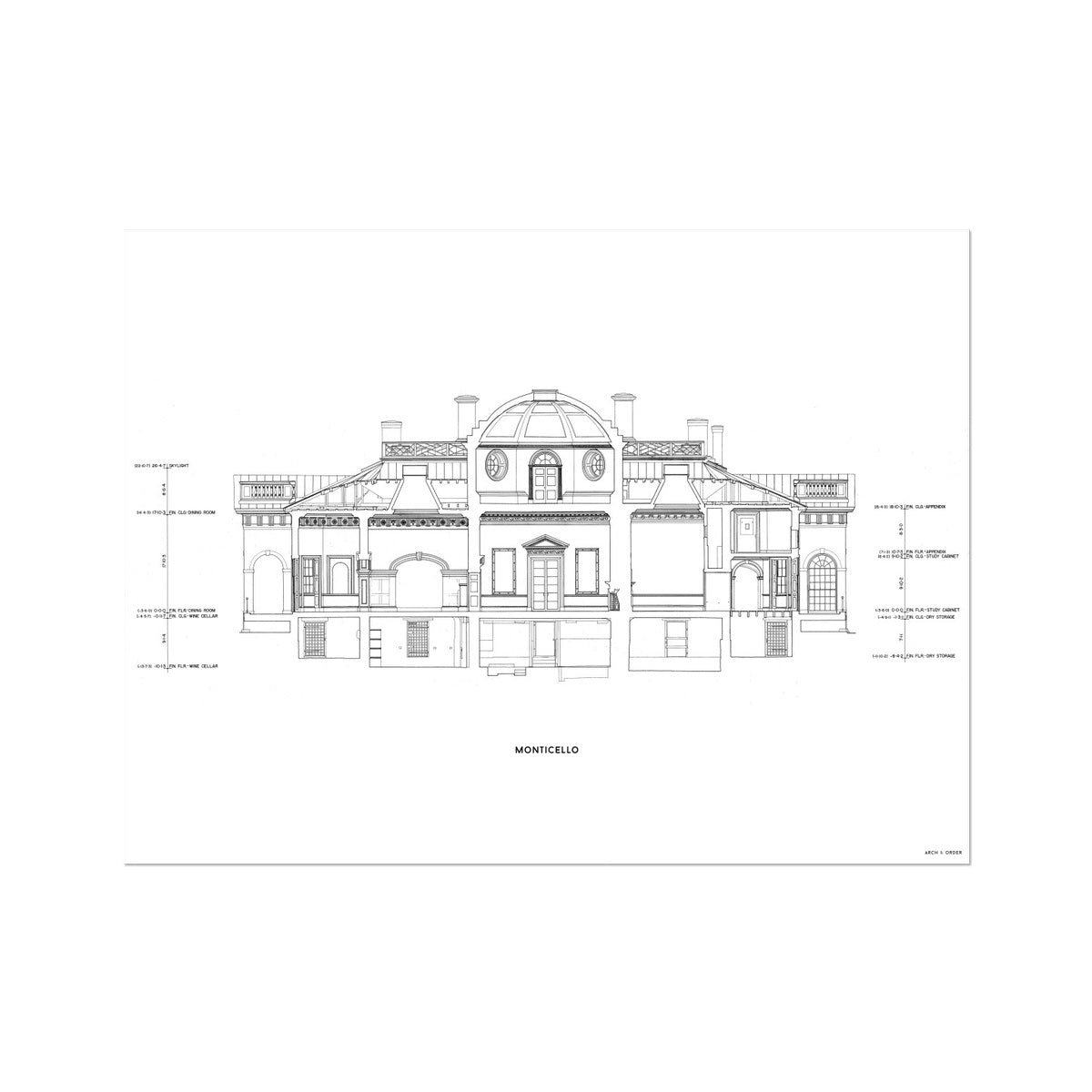 Monticello - West Elevation Cross Section - White -  Etching Paper Print