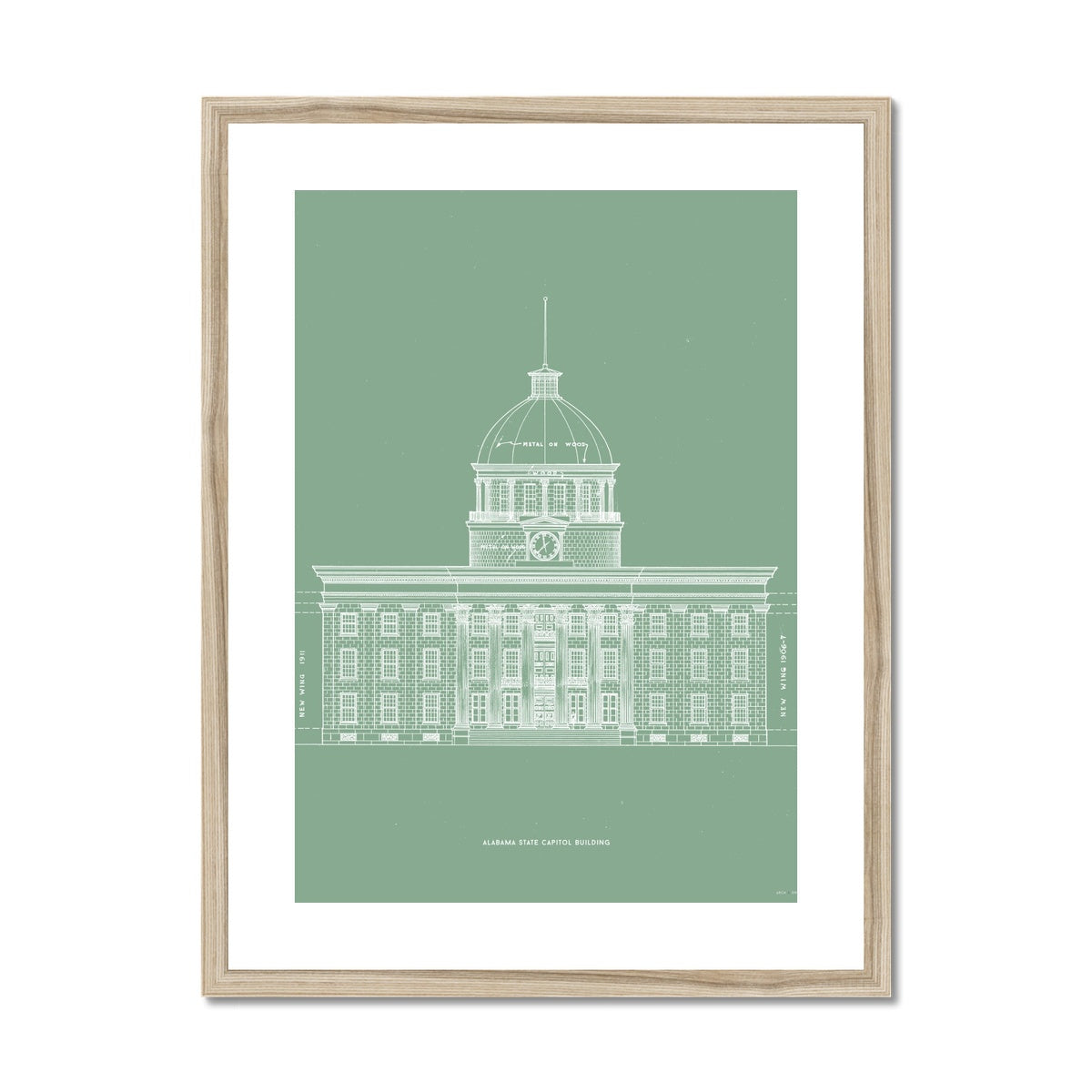 The Alabama State Capitol Building - West Elevation - Green -  Framed & Mounted Print