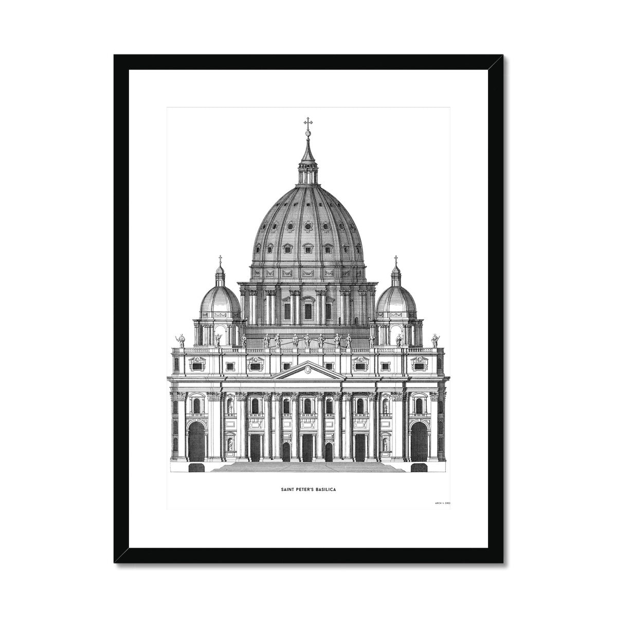 Saint Peter's Basilica - Primary Elevation - White -  Framed & Mounted Print