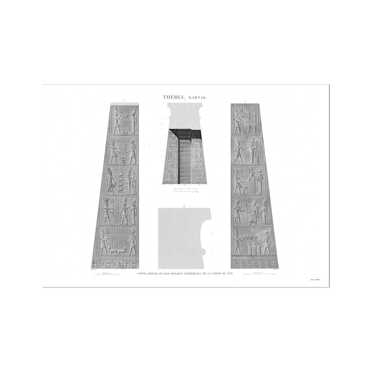 Bas Reliefs of the South Gate - Karnak - Thebes Egypt -  Etching Paper Print