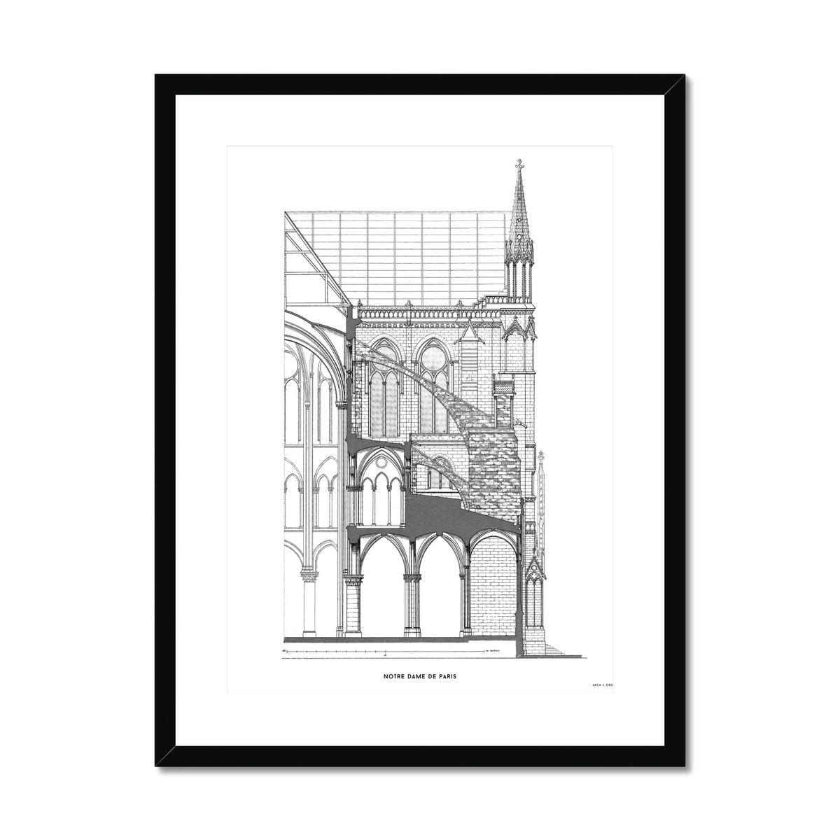 Notre Dame de Paris - Buttress Cross Section - White -  Framed & Mounted Print