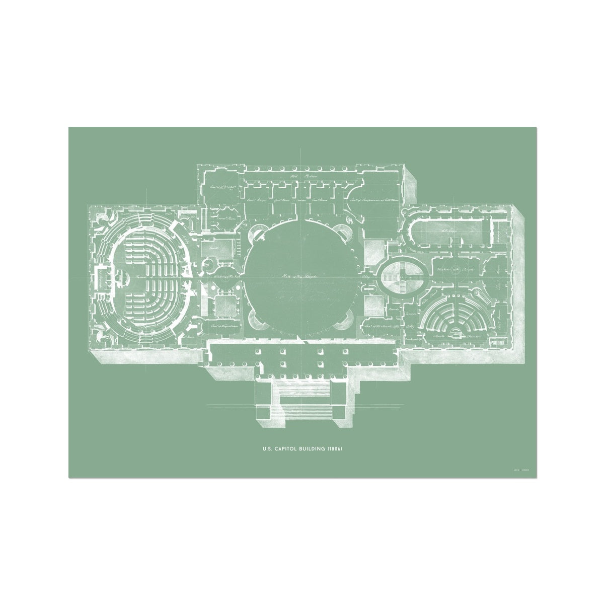 The U.S. Capitol Building - 1806 Floorplan - Green -  Etching Paper Print