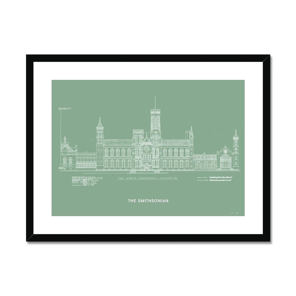 The Smithsonian North Elevation - Green -  Framed & Mounted Print