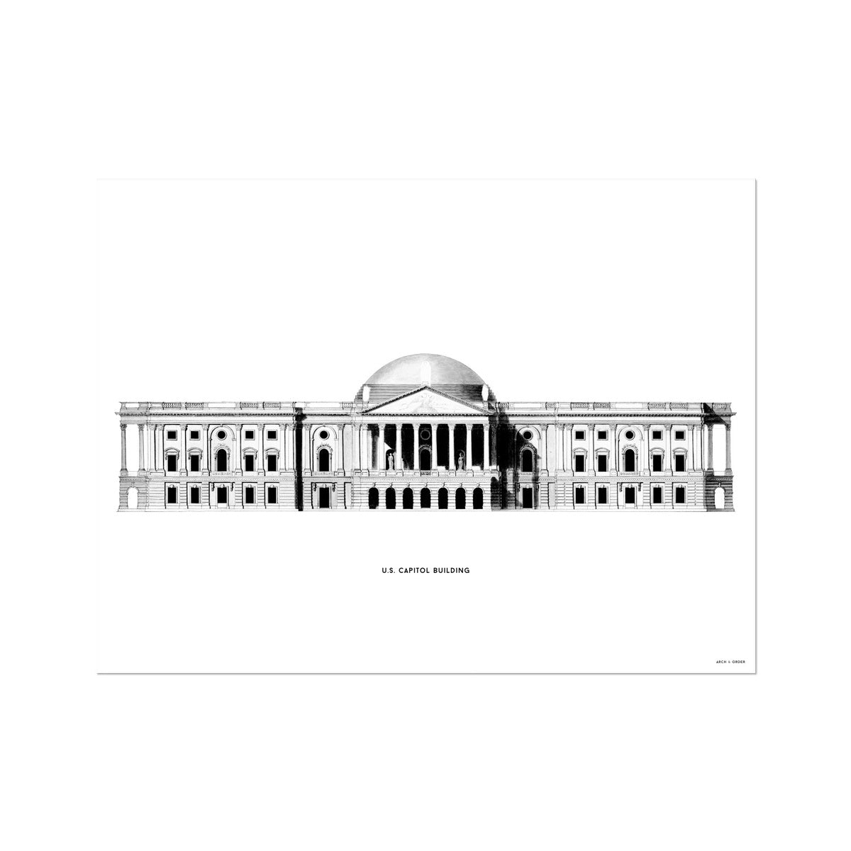 The U.S. Capitol Building - 1793 East Elevation - White -  Etching Paper Print