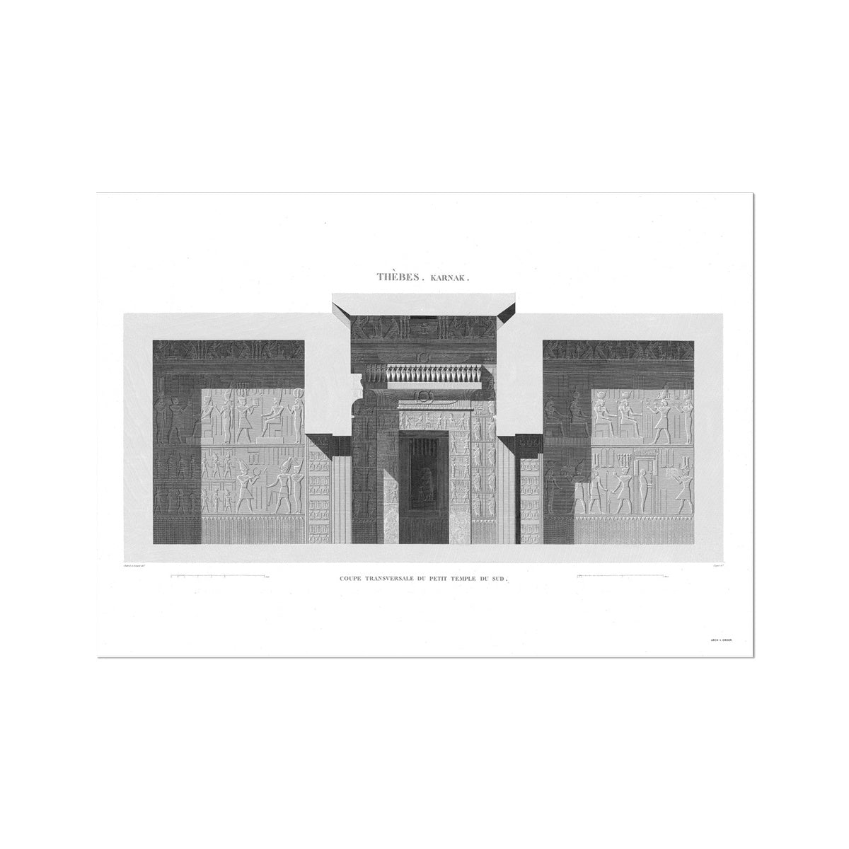 Sections of the Small Southern Temple 3 - Karnak - Thebes Egypt -  Etching Paper Print