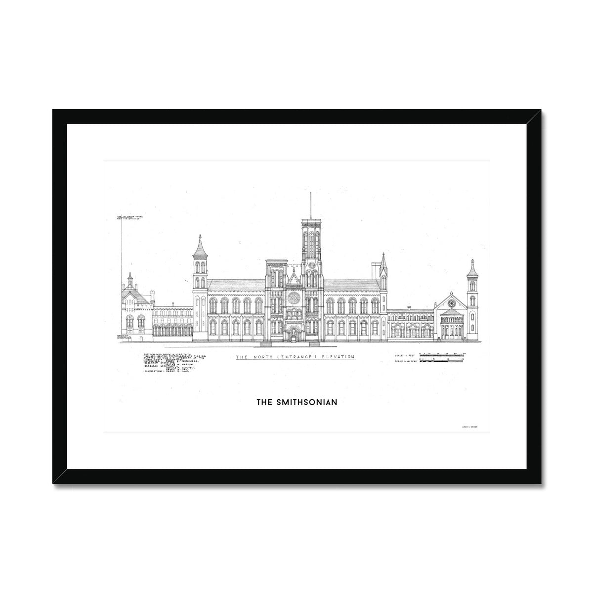 The Smithsonian North Elevation - White -  Framed & Mounted Print
