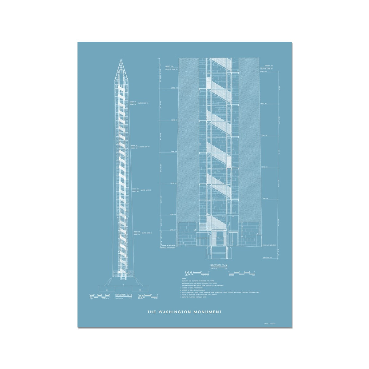 The Washington Monument Cross Section - Blue -  Etching Paper Print