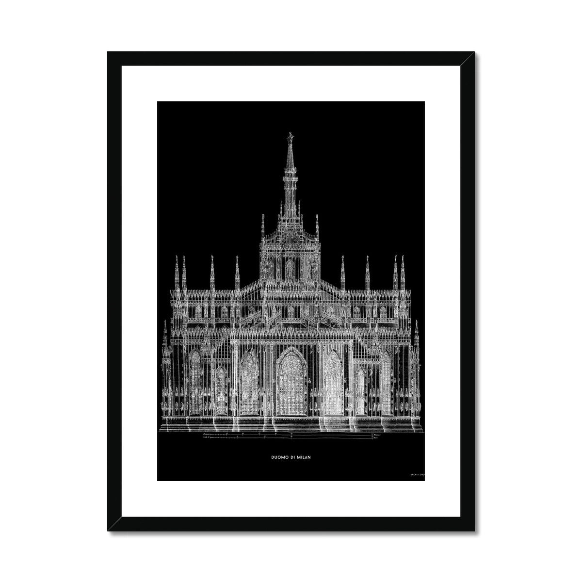 The Milan Cathedral - Primary Elevation - Black -  Framed & Mounted Print