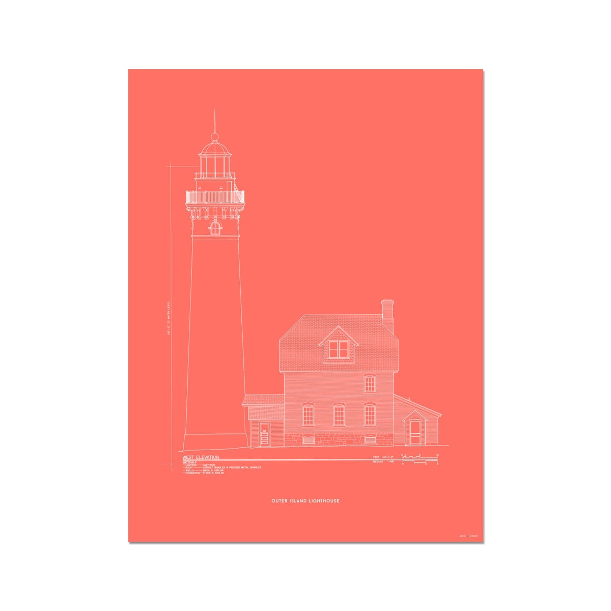 Outer Island Lighthouse - West Elevation - Red -  Etching Paper Print