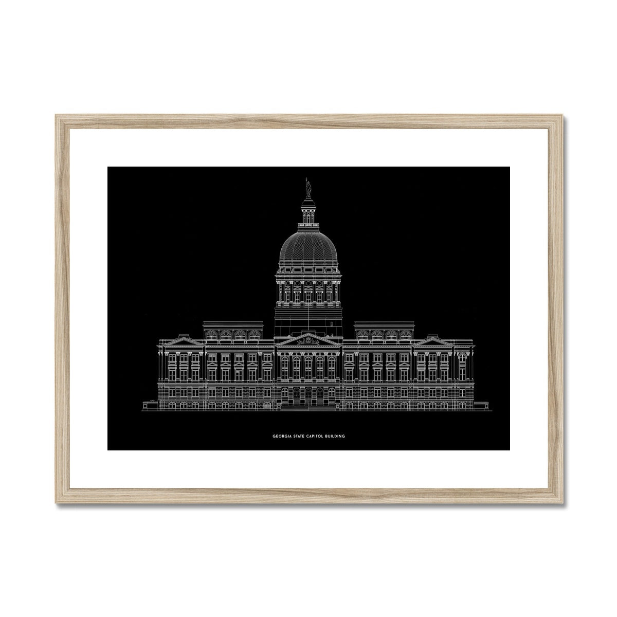 The Georgia State Capitol Building - West Elevation - Black -  Framed & Mounted Print