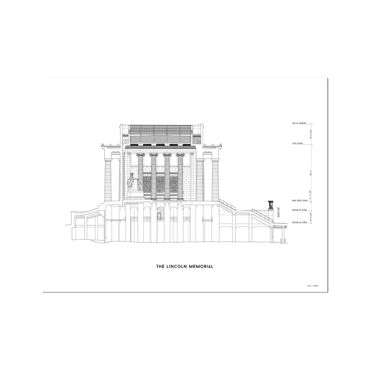The Lincoln Memorial North Elevation Cross Section - White -  Etching Paper Print