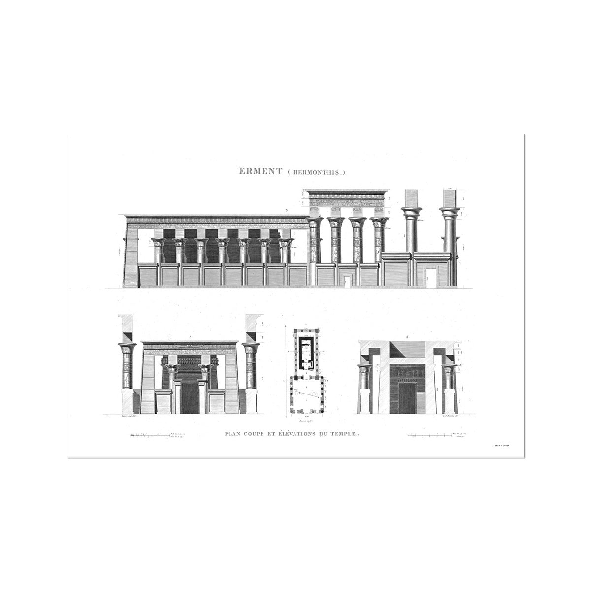 The Temple of Hermonthis Elevation - Armant Egypt -  Etching Paper Print