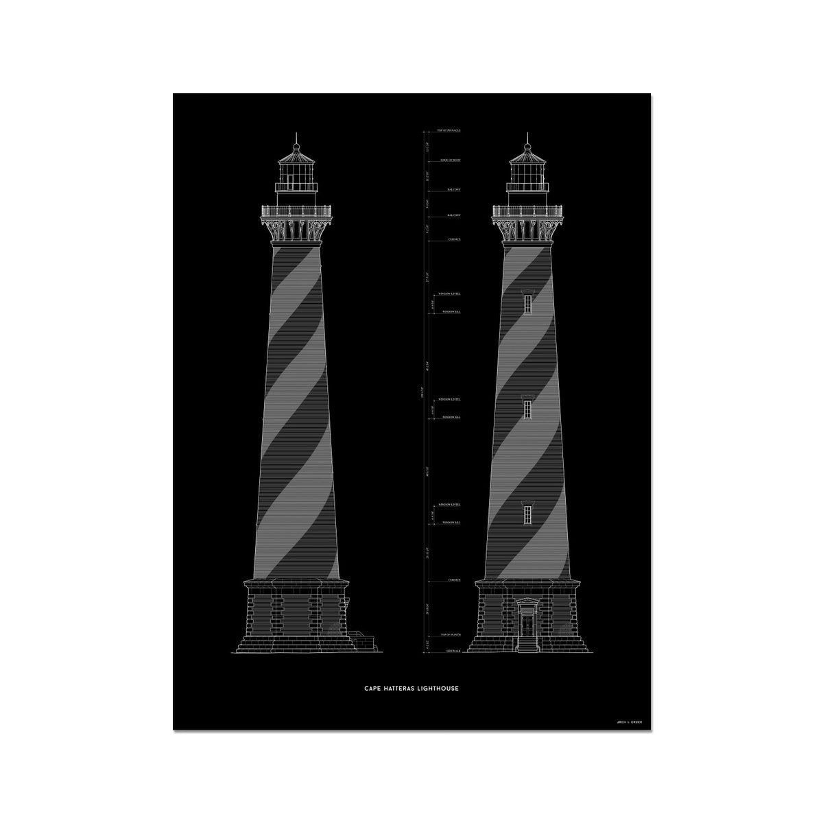Cape Hatteras Lighthouse - North and East Elevations - Black -  Etching Paper Print