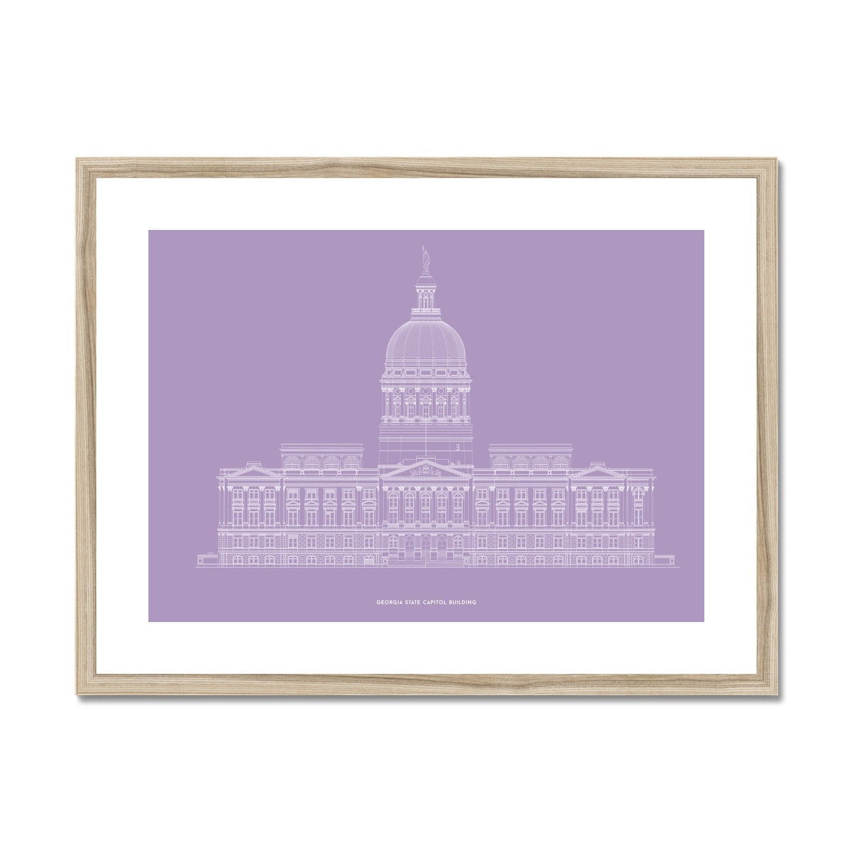 The Georgia State Capitol Building - West Elevation - Lavender -  Framed & Mounted Print