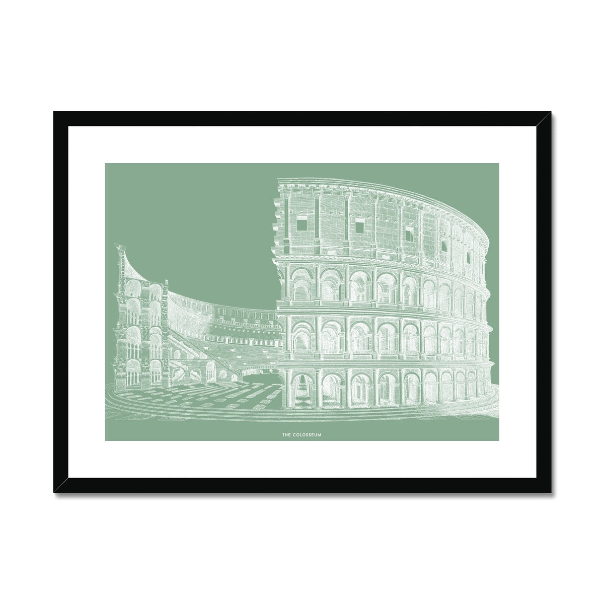 The Colosseum - Cross Section - Green -  Framed & Mounted Print