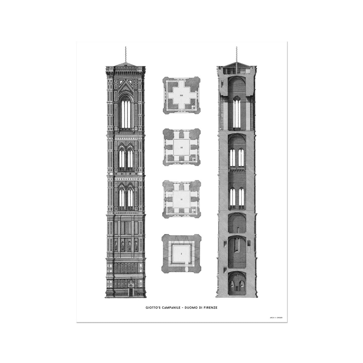 Giotto's Campanile - Cross Section - White -  Etching Paper Print