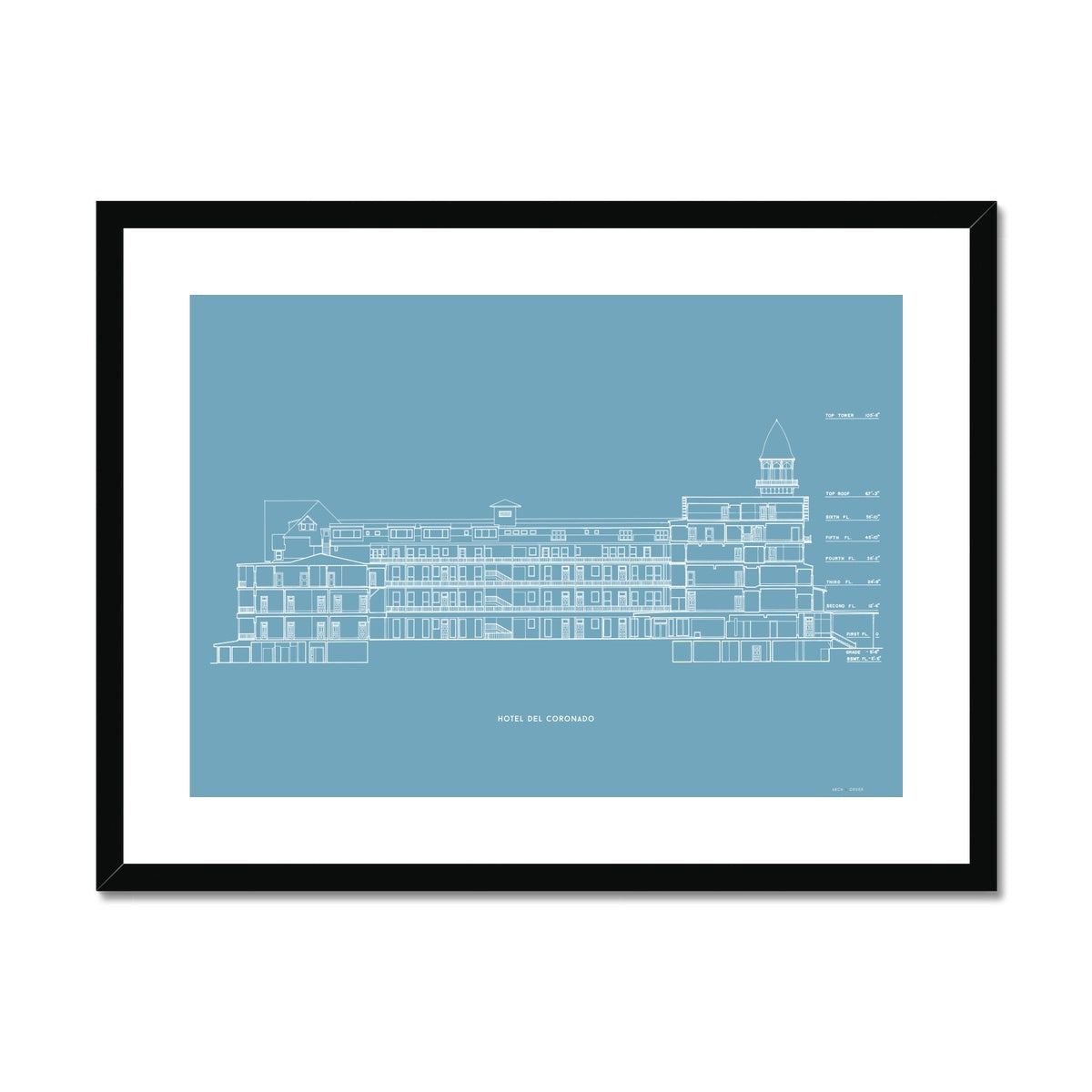 Hotel Del Coronado - Cross Section - Blue -  Framed & Mounted Print