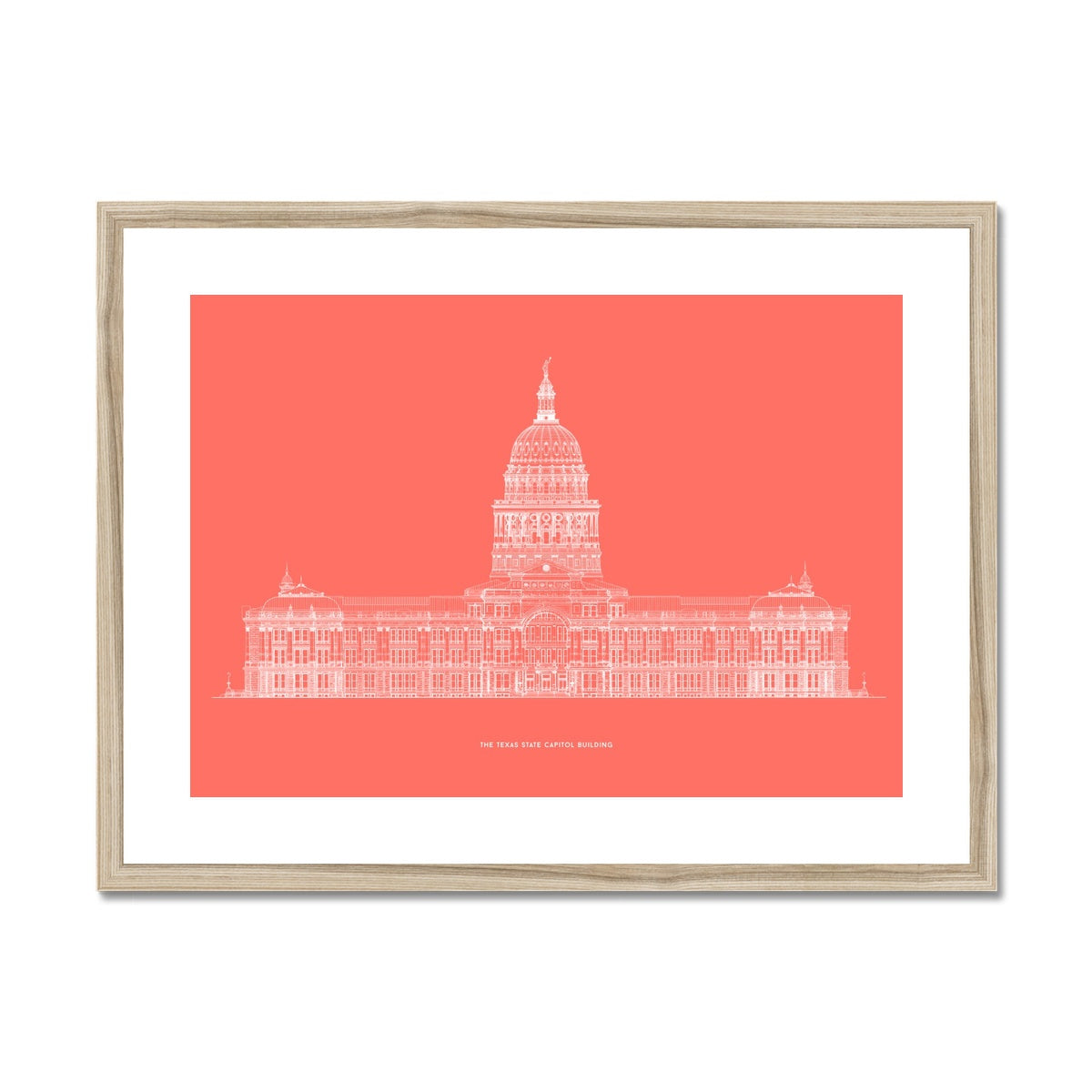 The Texas State Capitol Building - South Elevation - Red -  Framed & Mounted Print
