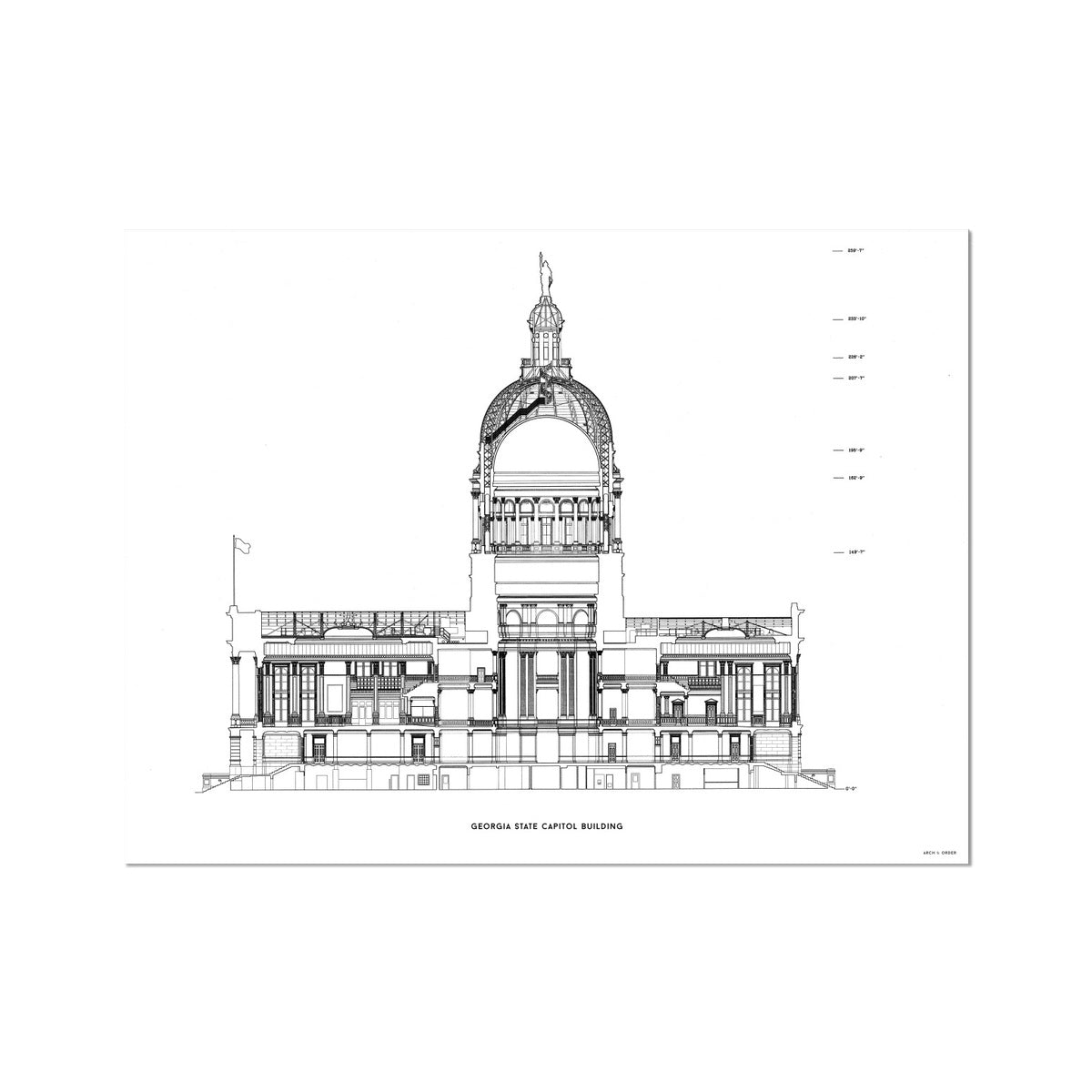 The Georgia State Capitol Building - North Elevation Cross Section - White - German Etching Print