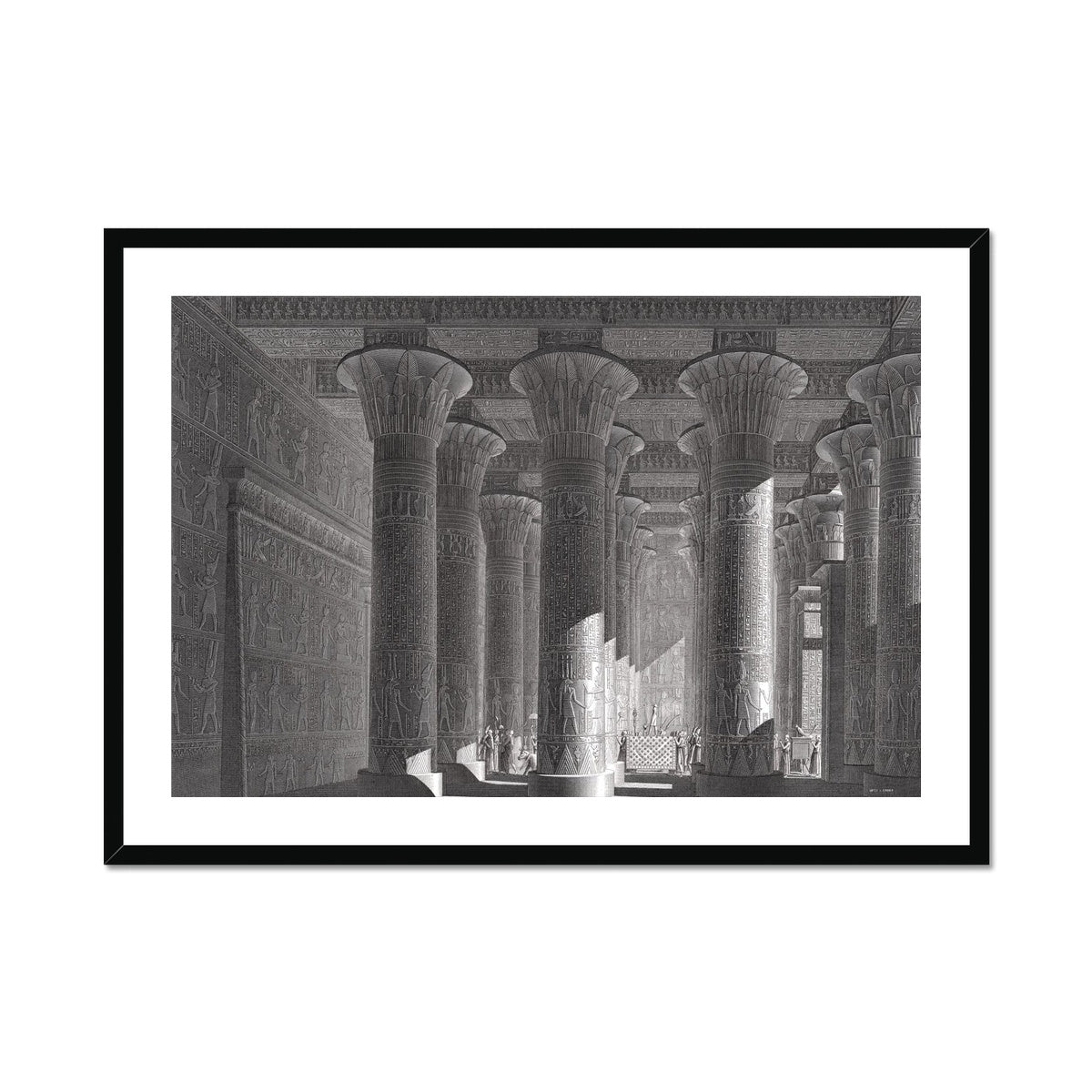 Temple of Khnum Portico Interior - Esna Egypt -  Framed & Mounted Print