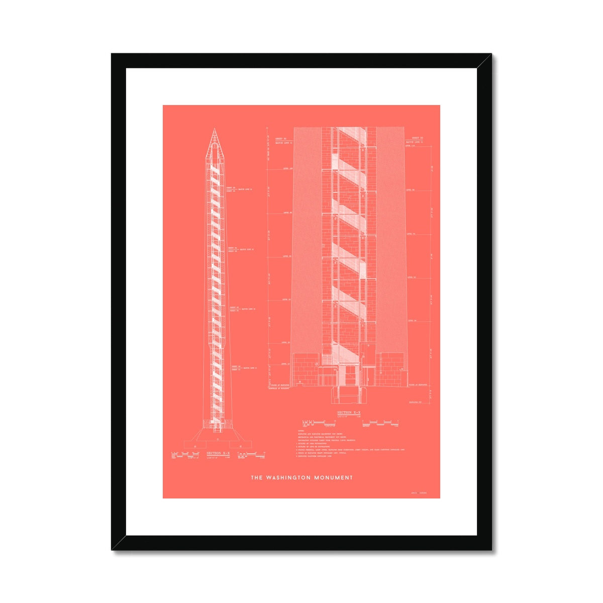 The Washington Monument Cross Section - Red -  Framed & Mounted Print