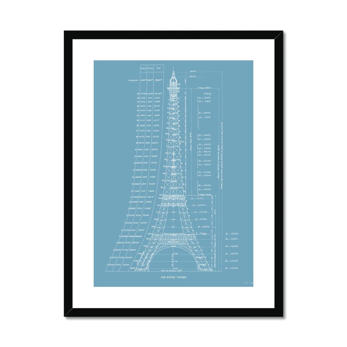 The Eiffel Tower - Structural Calculations - Blue -  Framed & Mounted Print