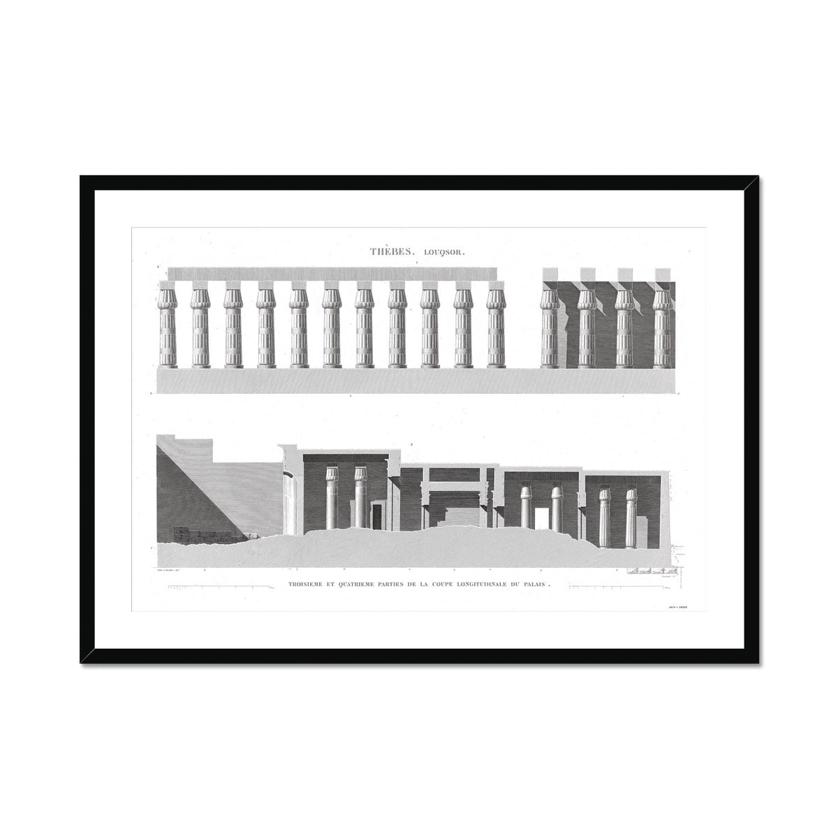 Cross Section of the Palace 3 - Luxor - Thebes Egypt -  Framed & Mounted Print