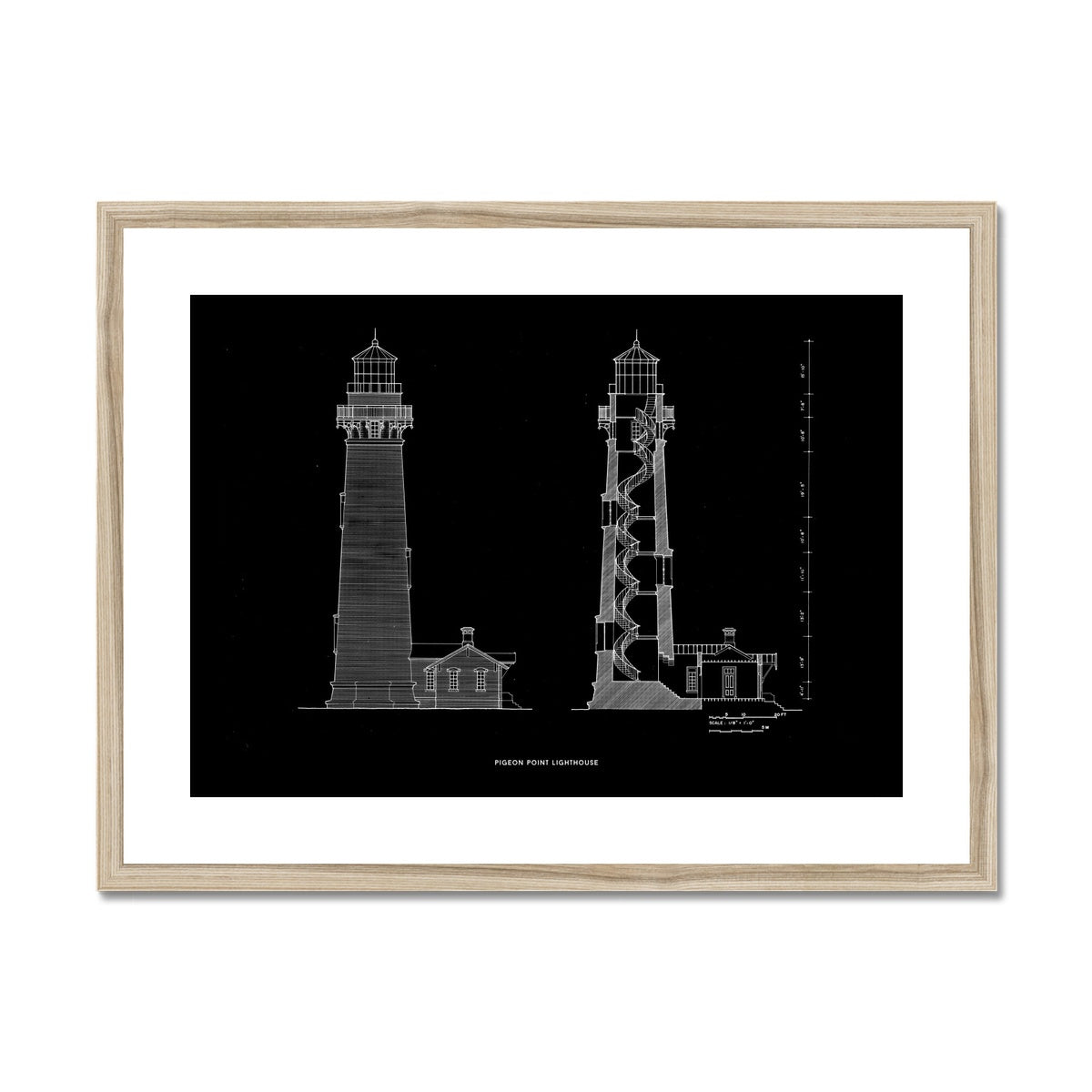 Pigeon Point Lighthouse - Southeast Elevation and Cross Section - Black -  Framed & Mounted Print