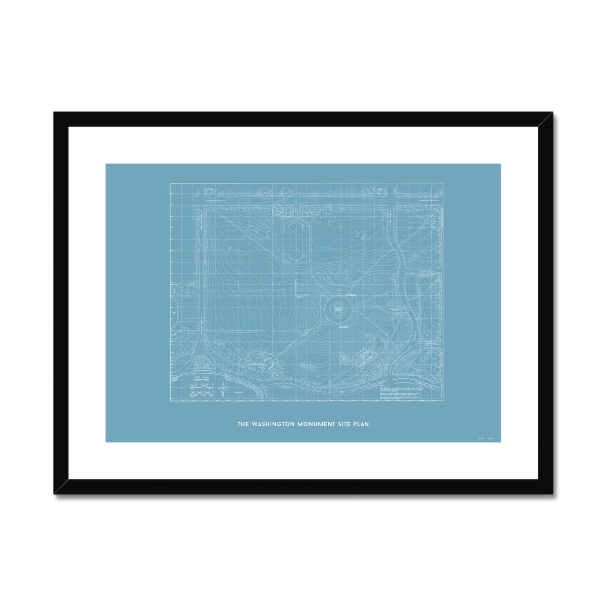 The Washington Monument Site Plan - Blue -  Framed & Mounted Print