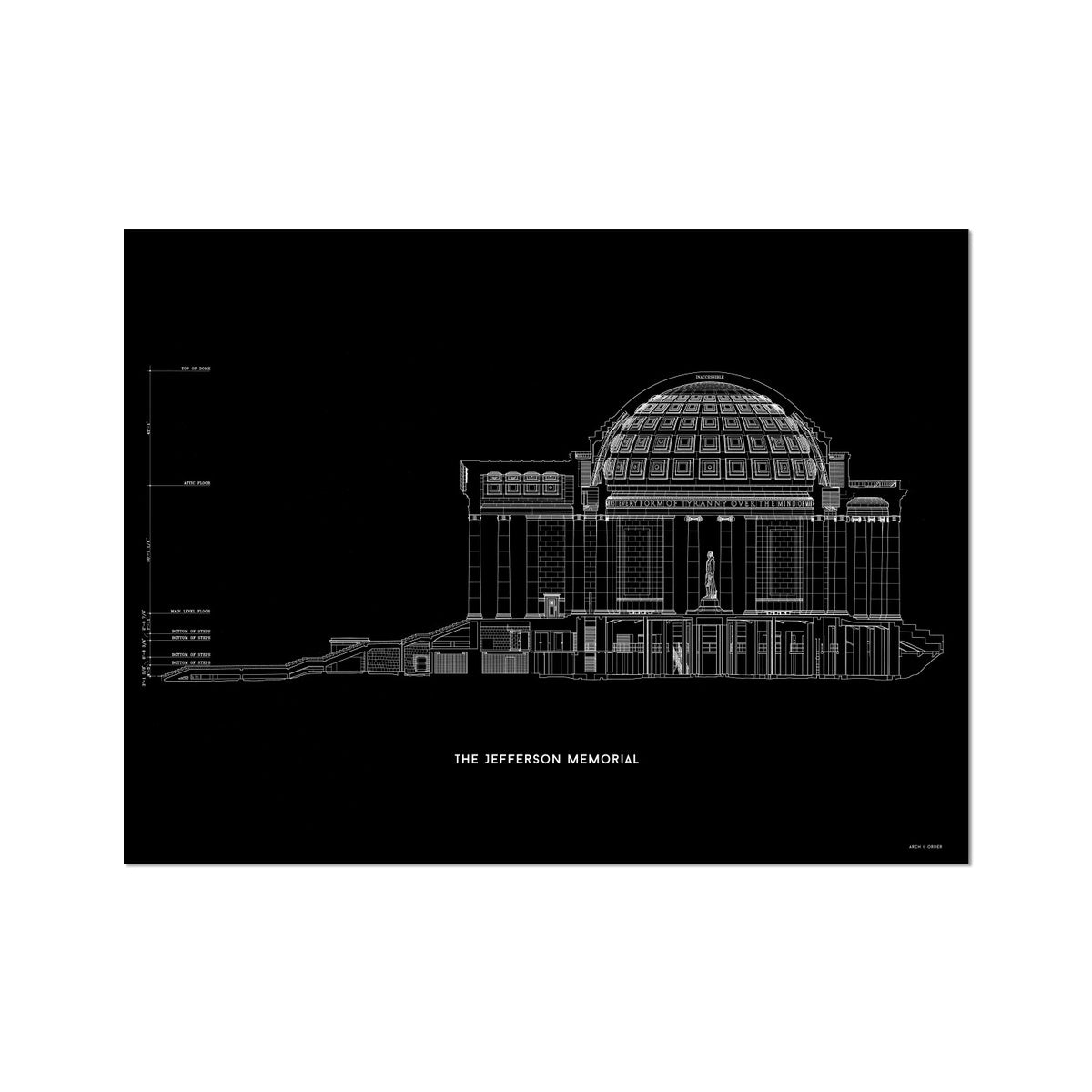 The Jefferson Memorial West Elevation Cross Section - Black -  Etching Paper Print