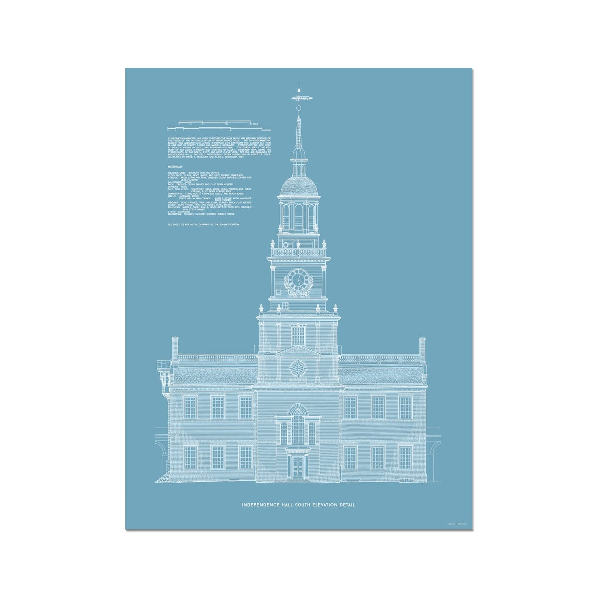 Independence Hall - South Elevation Detail - Blue -  Etching Paper Print