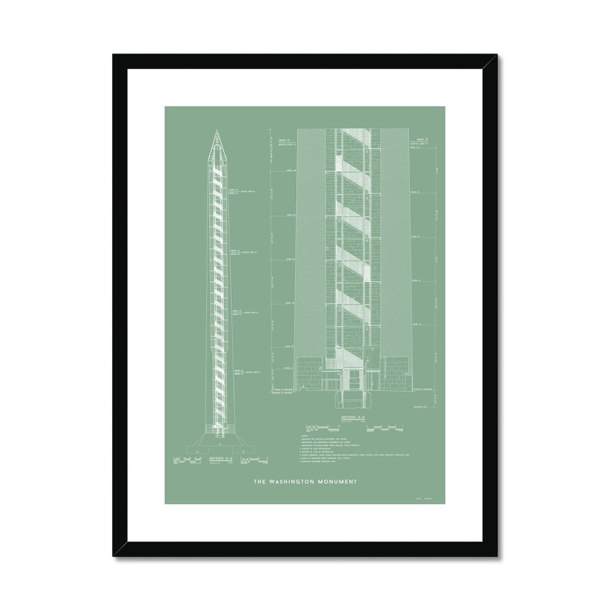 The Washington Monument Cross Section - Green -  Framed & Mounted Print