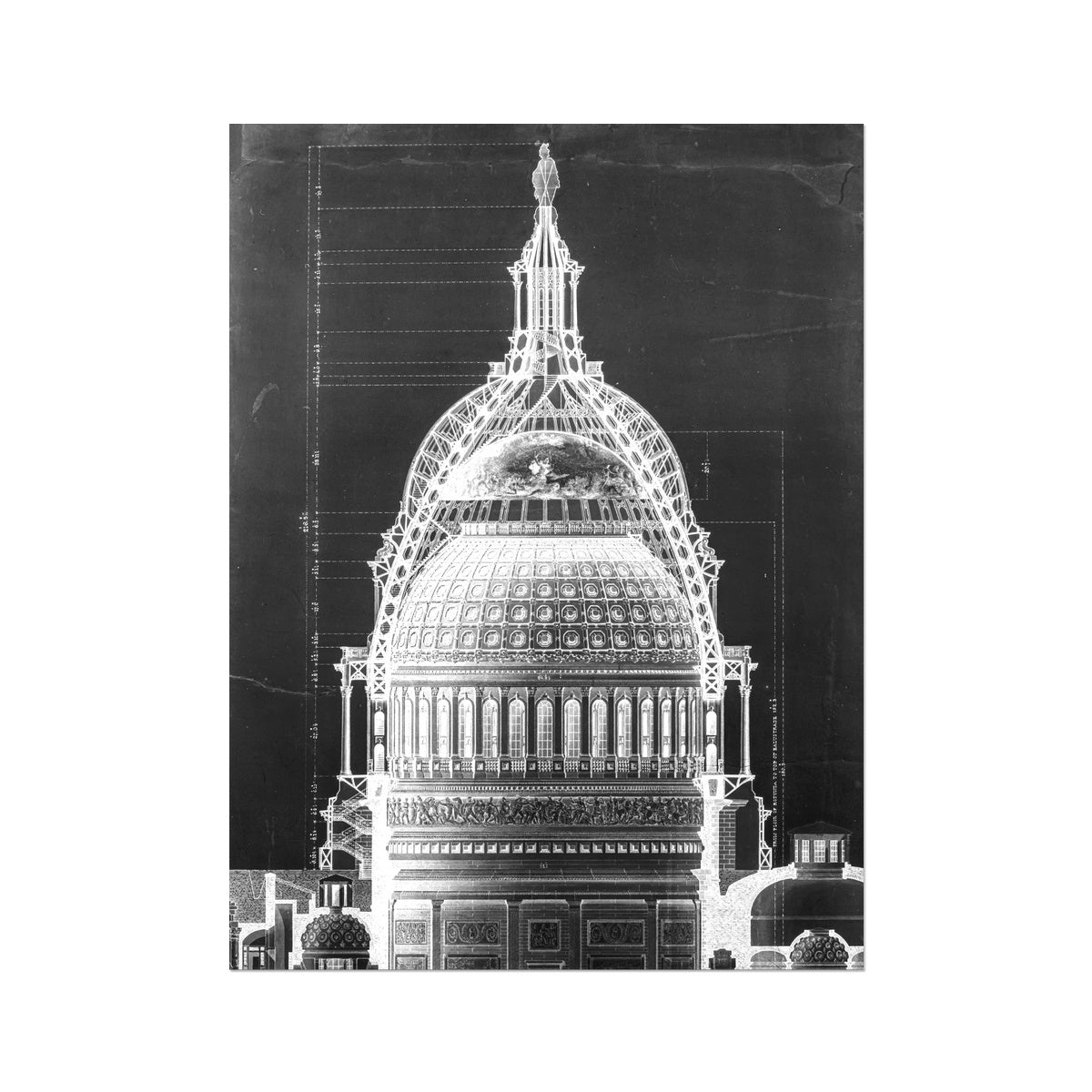The U.S. Capitol Building - Dome Cross Section - Black -  Etching Paper Print