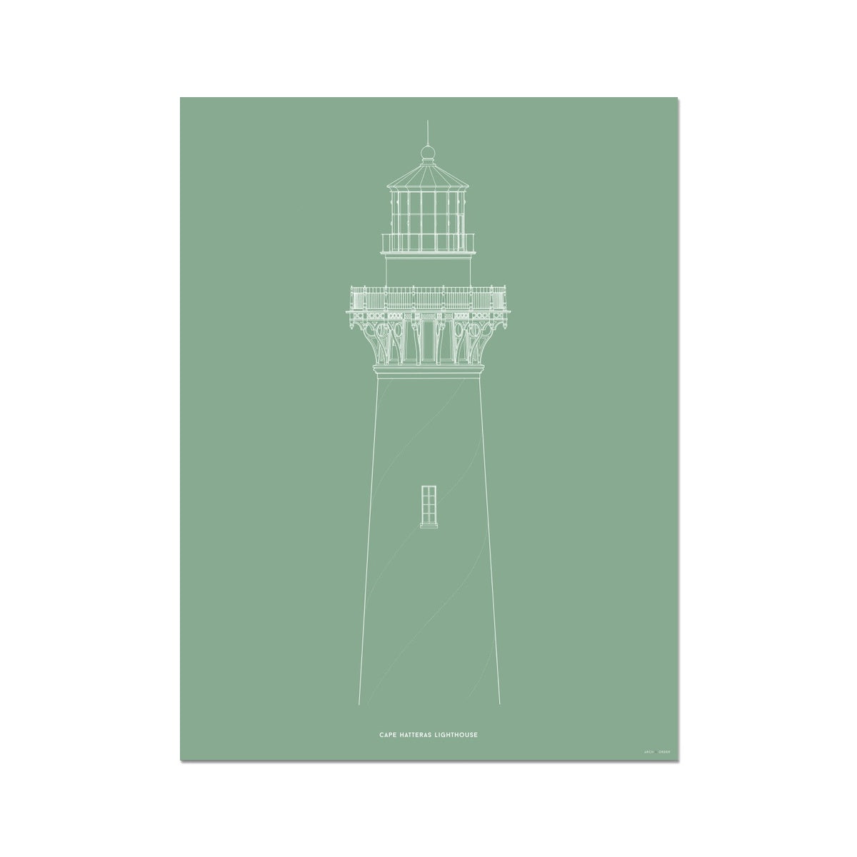 Cape Hatteras Lighthouse - North Elevation Detail - Green -  Etching Paper Print