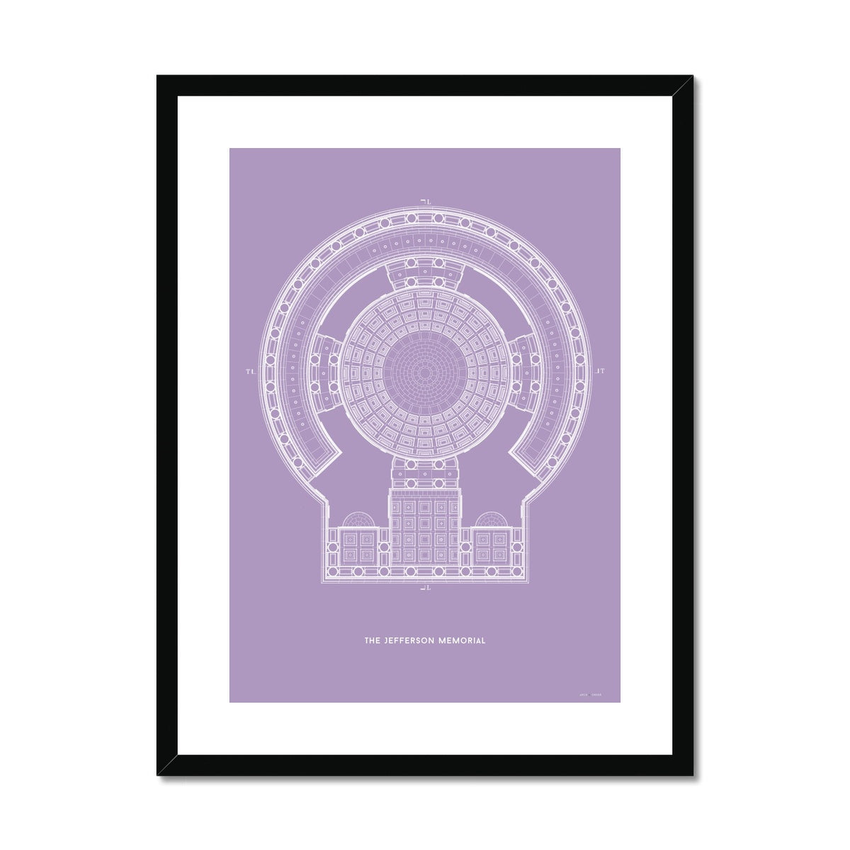 The Jefferson Memorial Reverse Ceiling Detail - Lavender -  Framed & Mounted Print