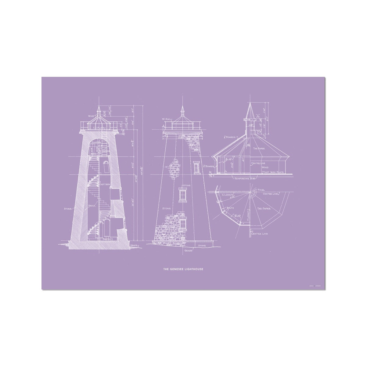 The Genesee Lighthouse - South Elevation and Cross Section - Lavender - German Etching Print
