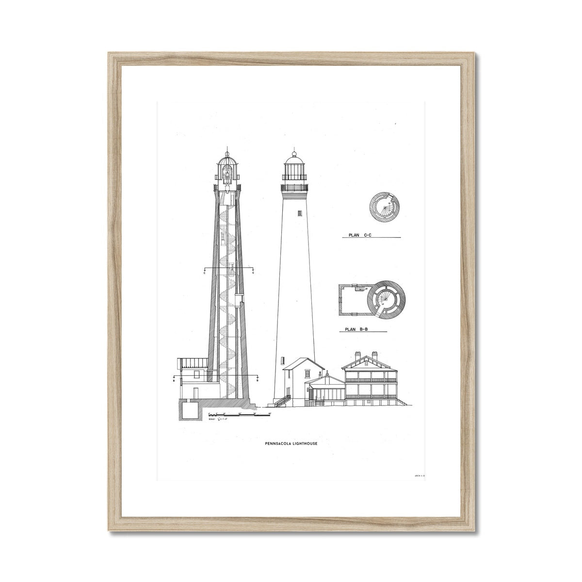 The Pensacola Lighthouse - West Elevation and Cross Section - White -  Framed & Mounted Print