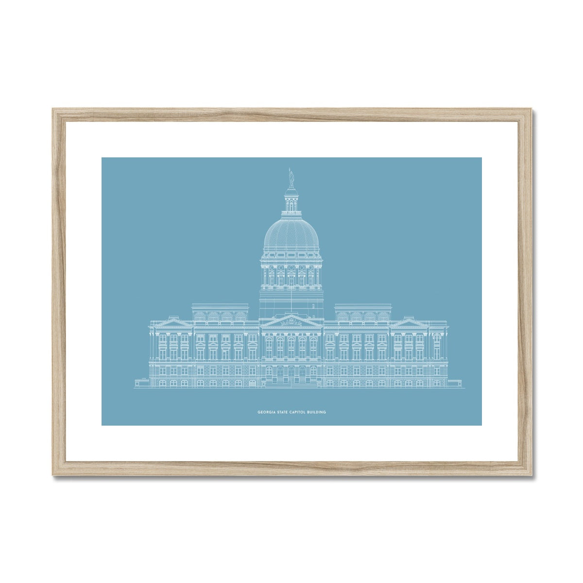 The Georgia State Capitol Building - West Elevation - Blue -  Framed & Mounted Print