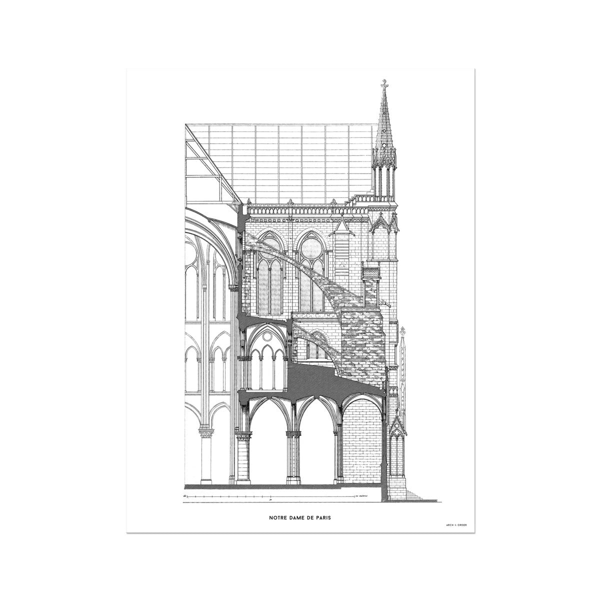 Notre Dame de Paris - Buttress Cross Section - White -  Etching Paper Print