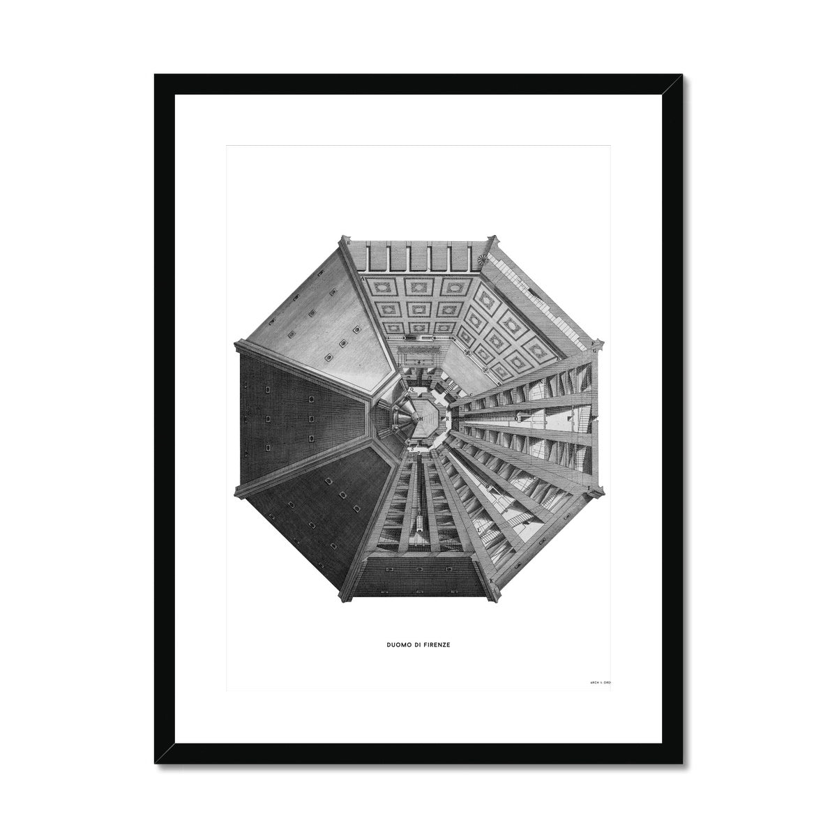 Duomo di Firenze - Top View - White -  Framed & Mounted Print