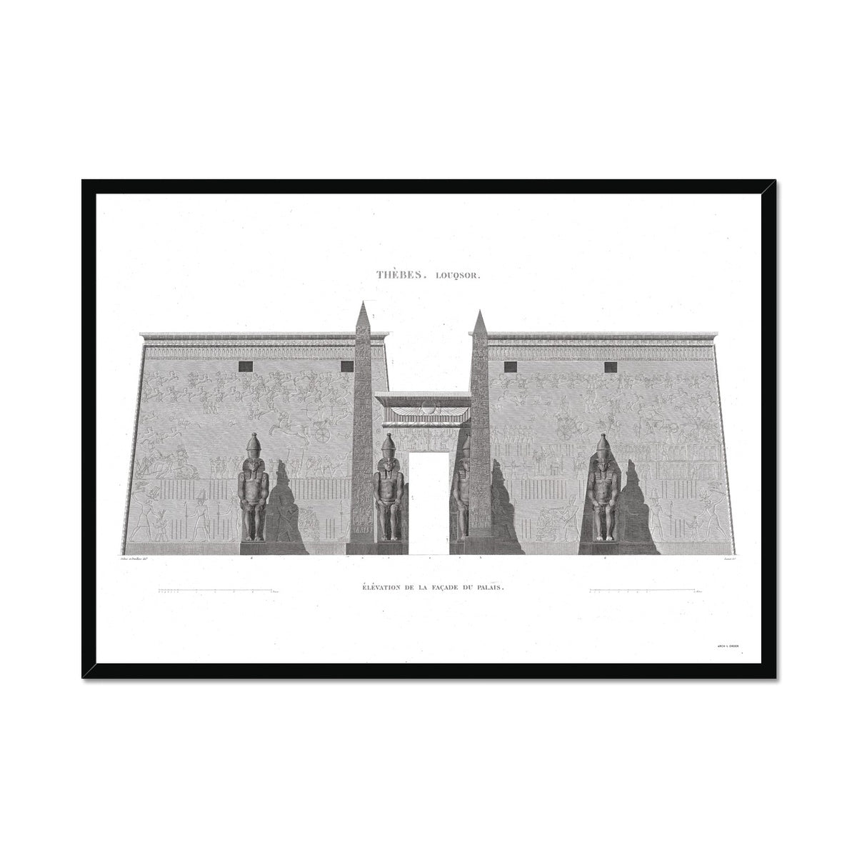 Primary Elevation of the Palace - Luxor - Thebes Egypt -  Framed Print