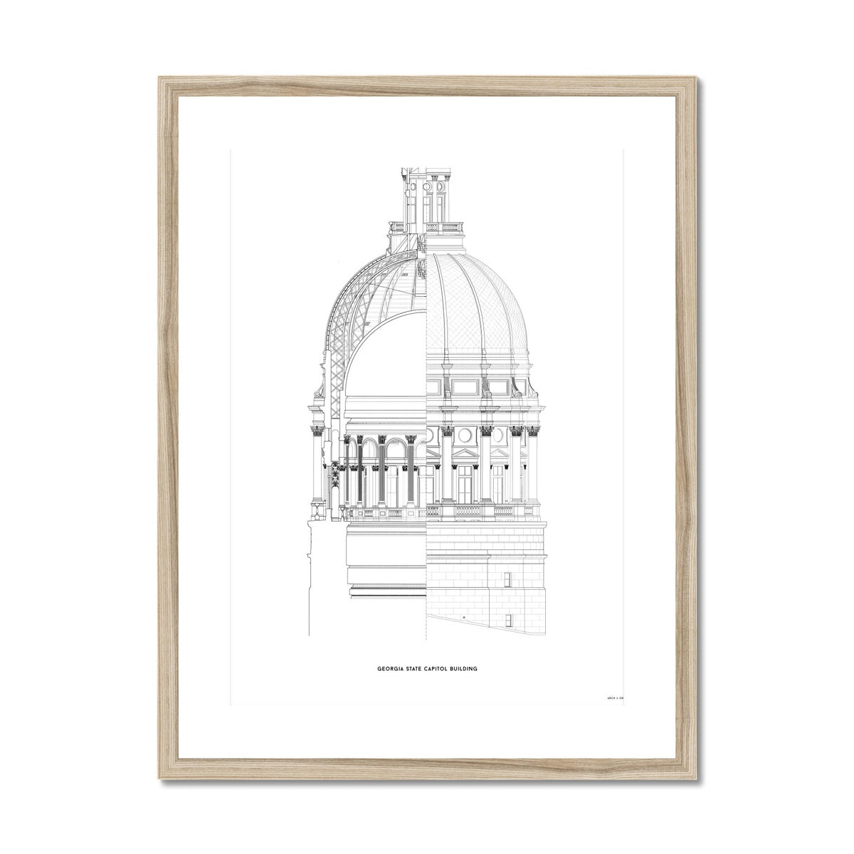 The Georgia State Capitol Building - Dome Cross Section - White -  Framed & Mounted Print