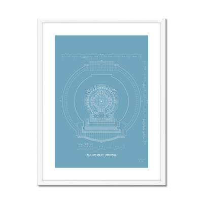 Jefferson Memorial Main Level Plan - Blue -  Framed & Mounted Print