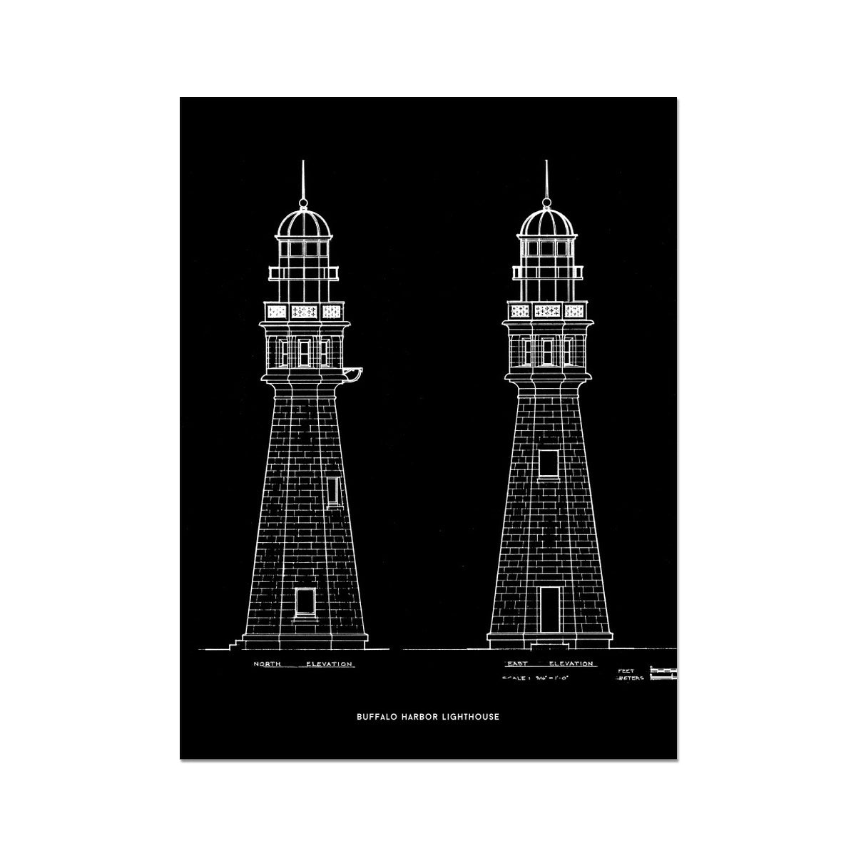 Buffalo Harbor Lighthouse - North and East Elevations - Black -  Etching Paper Print