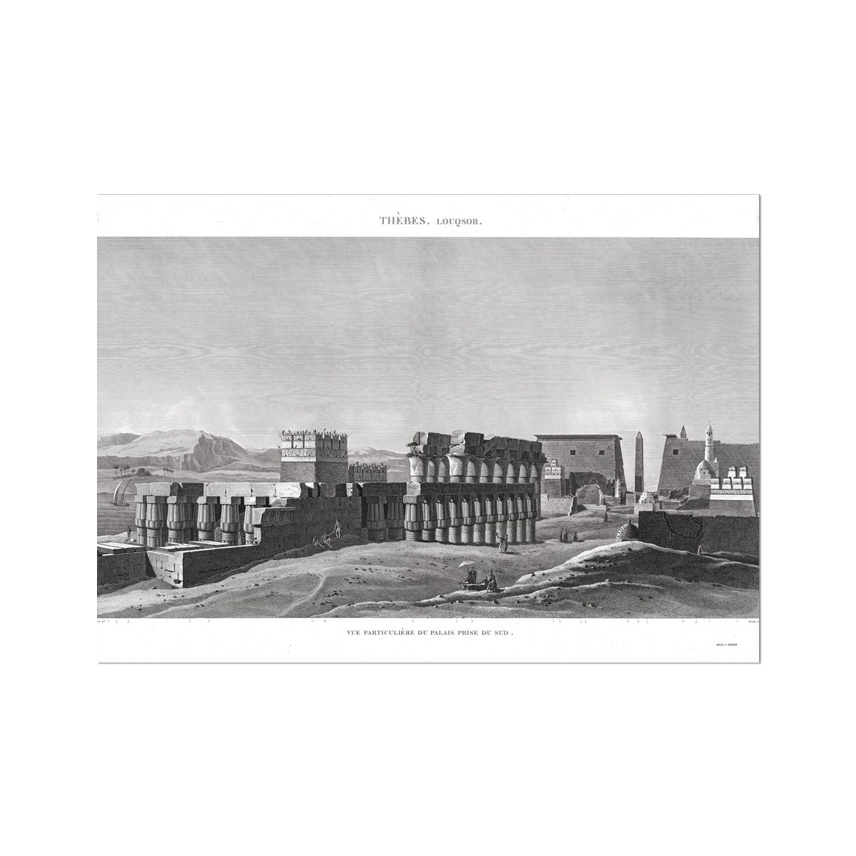 View of the Palace From the South - Luxor - Thebes Egypt -  Etching Paper Print