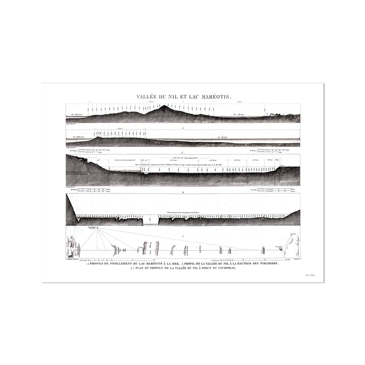 Profile View - Nile Valley and Lake Maréotis Egypt -  Etching Paper Print