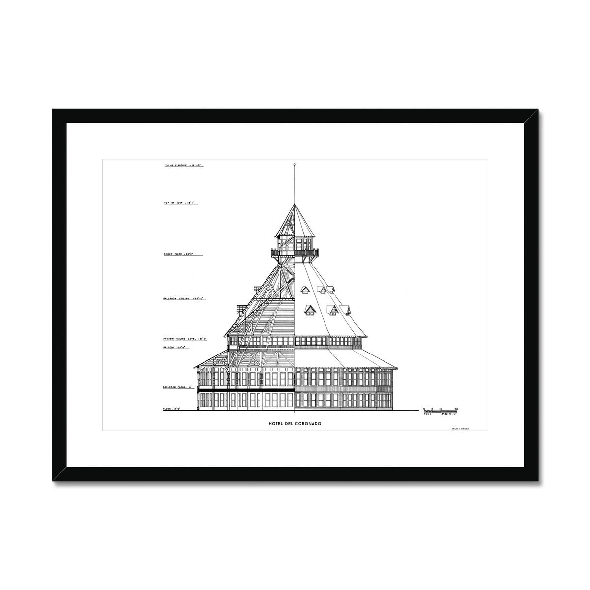 Hotel Del Coronado - Ballroom Cross Section - White -  Framed & Mounted Print