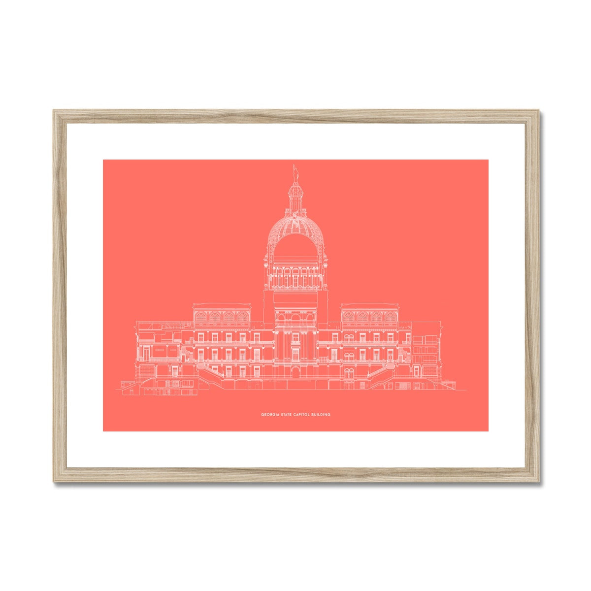 The Georgia State Capitol Building - West Elevation Cross Section - Red -  Framed & Mounted Print